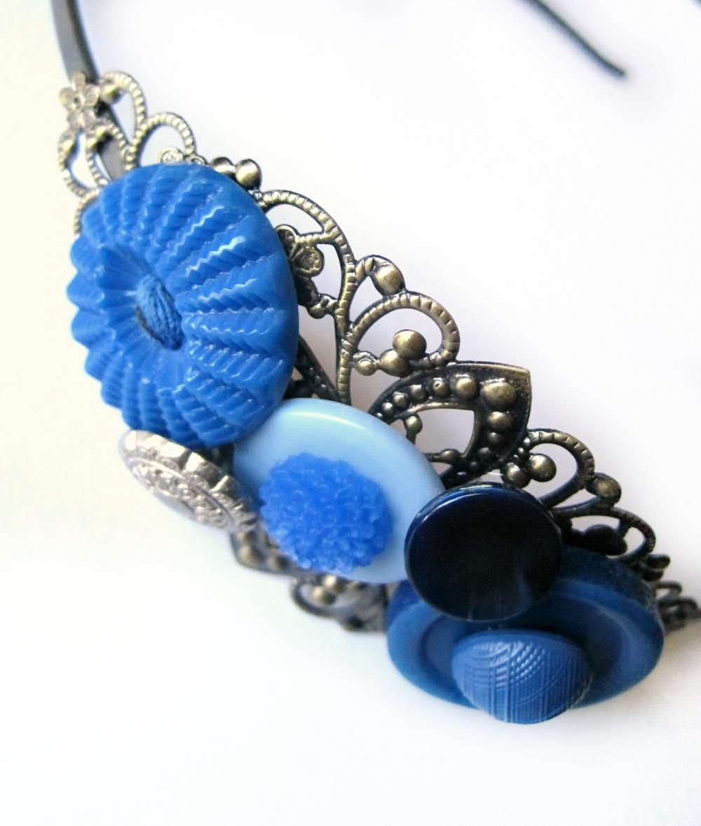 Blue headband with vintage buttons