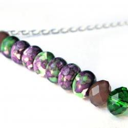 Green and purple stick necklace